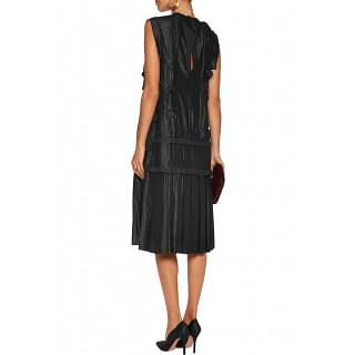 Lanvin Ruffle-trimmed pleated lamé dress