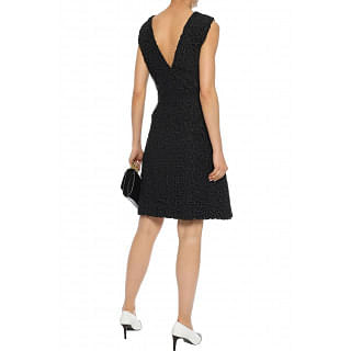 Lanvin Flared silk twill-paneled guipure lace dress