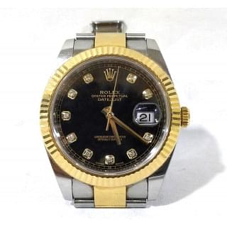 Rolex Datejust Rolesor Yellow Fluted Oyster Black Diamond 41mm