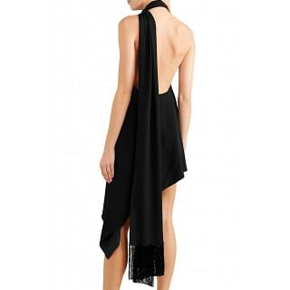 Saint Laurent Fringed crepe halterneck mini dress