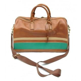 Coach Bleecker Debossed Stripe Leather Boston Bag