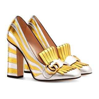Gucci Zebra fringed Two Tone Metallic Pumps