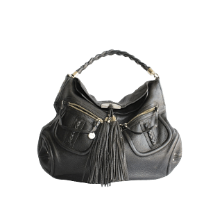 Bebe Black Leather Tassel Bag