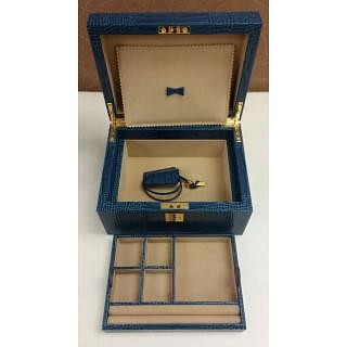 Smythson Croc-effect leather jewelry box