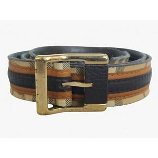 Burberry Leather & Coated Plaid Canvas Belt