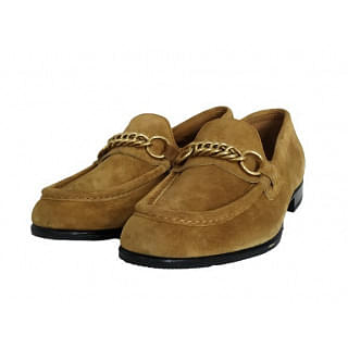 Burberry Solway Suede Chain Link Detail Loafers