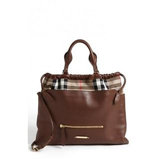 Burberry Big Crush House Check Leather Tote