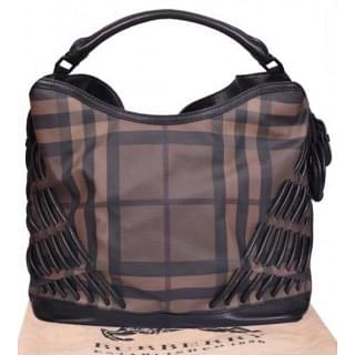 Burberry Smoked Check Cable Knots Canvas and Leather Hobo Bag