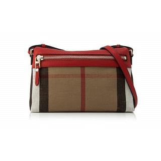 Burberry Small Farley Canvas Check and Leather Clutch