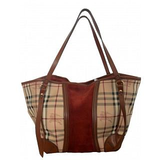 Burberry Small Haymarket Suede Panel Tote