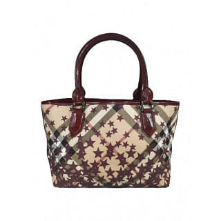 Burberry Coated Canvas Nickie Star Check Tote
