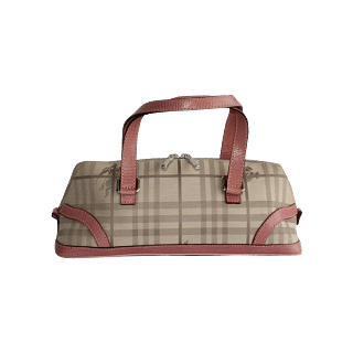 Burberry Checked Handbag with Pink Straps