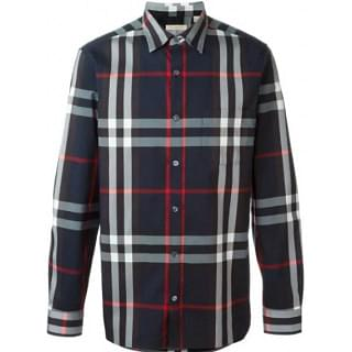 Burberry Mens Salwick Flannel Blue Check Cuff Shirt