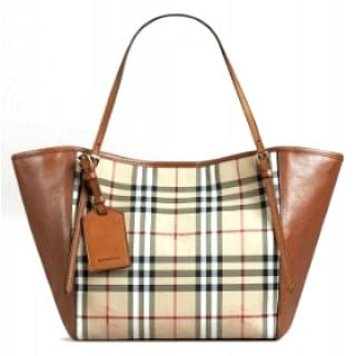 Burberry Small Canter In Horseferry Check and Leather Tote