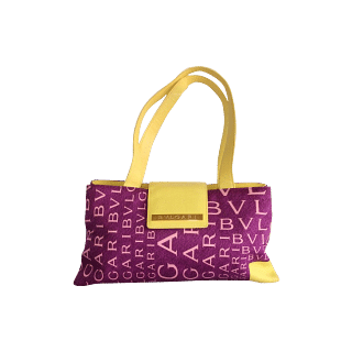 BVLGARI Yellow Leather And Pink Lettering Baguette