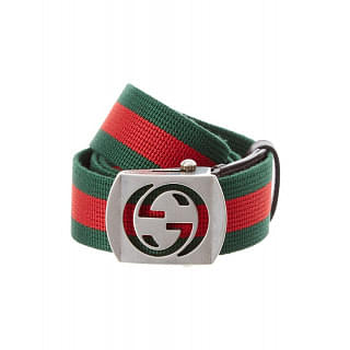 Gucci Canvas With Cutout Buckle Belt