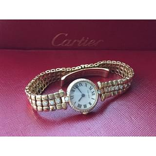 Cartier Vintage Diamond Encrusted 18K Solid Gold Watch