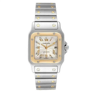 Cartier Santos Galbee Steel Yellow Gold Guilloche Dial Automatic