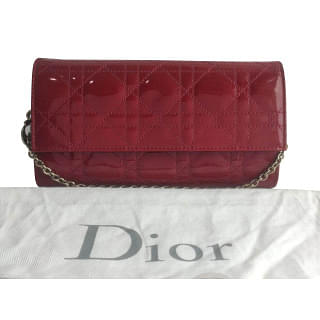 Dior Patent Leather Lady Dior Wallet On Chain