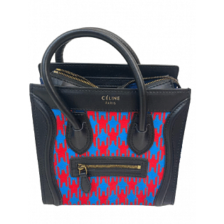 Celine Limited Edition Blue Leather Luggage Tote
