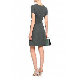Giorgio Armani Faux leather-trimmed stretch-crepe mini dress