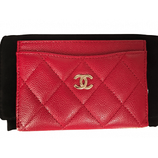 Chanel Black Caviar Quilted Card Holder Case