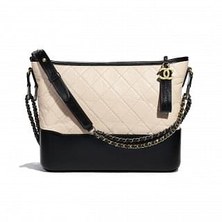 Chanel Gabrielle Hobo Bag Beige & Black Cruise