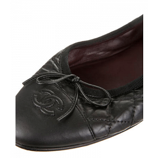Chanel Black Quilted Ballet Flats