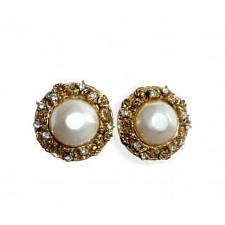 Chanel Diamond with tiny Camellia Pearl Clipped Earrings