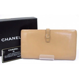 Chanel Beige Leather Continental Wallet