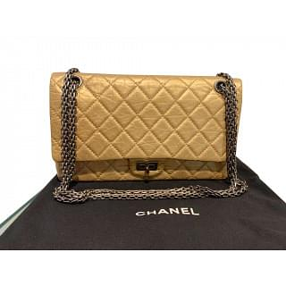 Chanel Quilted Double Flap Classic 2.55 Reissue Light Gold Bag