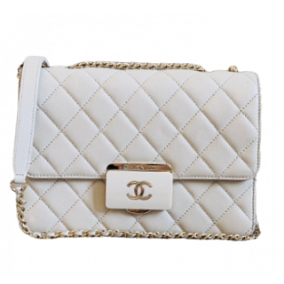 Chanel White Quilted Beauty Lock Mini Flap Leather Bag