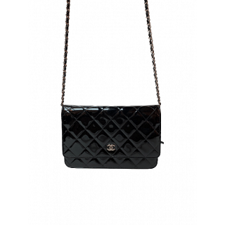 Chanel CC Black Quilted Patent Leather WOC Clutch