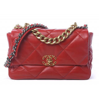 Chanel Quilted 19 Flap Red Handbag