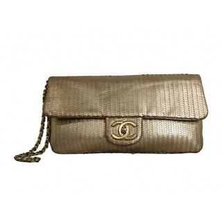 Chanel 31 Rue Cambon Gold Leather Clutch Wristlet