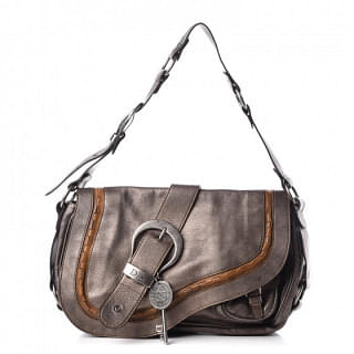 Christian Dior Metallic Gaucho Saddle Handbag Bag
