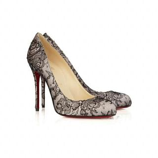 Christian Louboutin Fifi 100 Satin and Lace Pump