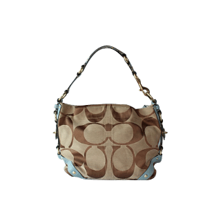 Coach Carly Hobo with Light Blue Leather Trim