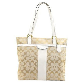 Coach Signature Stripe F28504 Leather Trim Tote