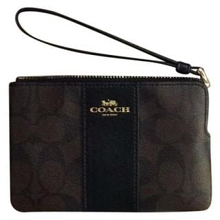 Coach Signature Corner Zip Canvas With Leather Stripe Wristlet