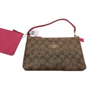 Coach Brown Monogram Clutch with Pink Strap