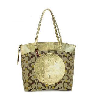 Coach F18870 Laura Secret Admirer Hearts Gold Tote