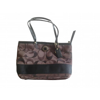 Coach Brown and Black Monogram Thin Shoulder Strap Tote