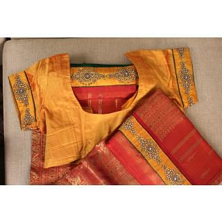 Orange and Red Traditional Saree