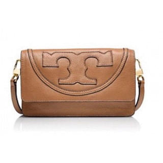 Tory Burch All T Pebbled Crossbody Bag, Tan