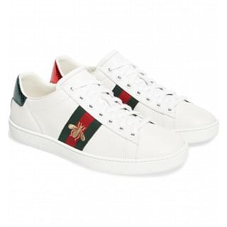 Gucci White Web Bee New Ace Low-Top Sneakers