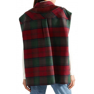 Miu Miu Leather-trimmed checked wool-blend felt vest