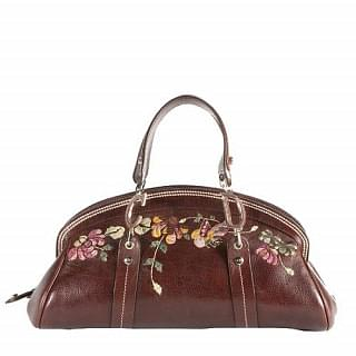 Christian Dior Leather Vintage Flowers Embroidered Satchel