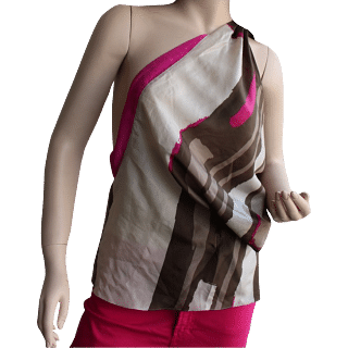 DKNY Pink & White One Shoulder Top