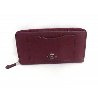 Coach Burgundy F54007 Accordion Zip In Crossgrain Color Wallet